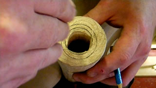 Marking out the didgeridoo mouthpiece